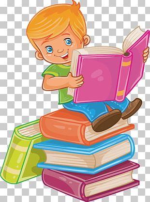 Child Reading Illustration PNG