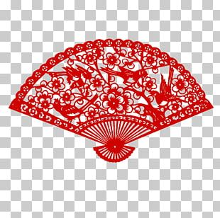 Chinese Paper Cutting Hand Fan Papercutting Chinese New Year PNG