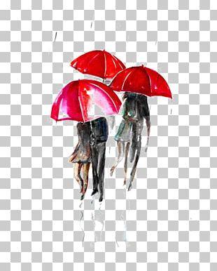 Paris Street; Rainy Day Umbrella Watercolor Painting Illustration PNG