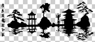Japanese Architecture Silhouette Stencil PNG