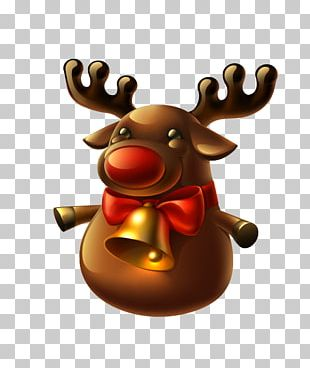 Rudolph Reindeer Santa Claus Christmas Illustration PNG