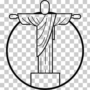 Christ The Redeemer Black And White Drawing Coloring Book PNG