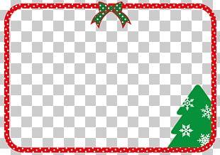 Christmas Frame With Ribbon And Christmas Tree. PNG