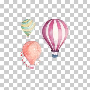 Hot Air Balloon Watercolor Painting PNG