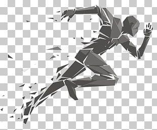 Running Geometry Illustration PNG