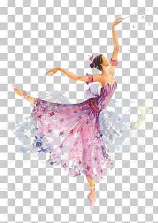 The Sleeping Beauty Ballet Dancer Dance Costume Watercolor Painting PNG