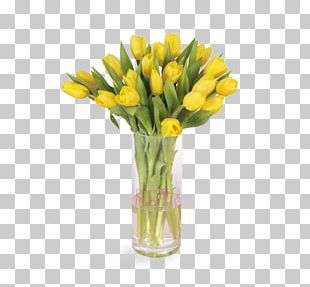Floral Design Yellow Vase Tulip Cut Flowers PNG