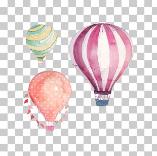 Hot Air Balloon Watercolor Painting Drawing PNG