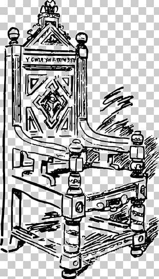 Throne Coronation Chair Line Art PNG