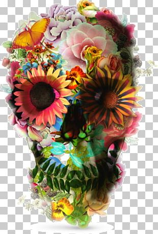 T-shirt Skull Flower Sleeve Top PNG