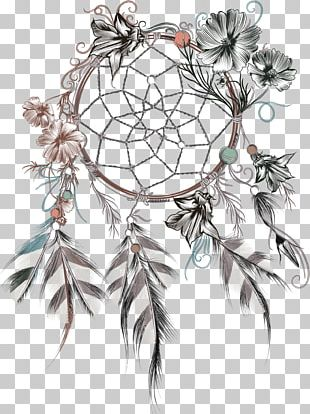 Dreamcatcher Feather Flower Illustration PNG