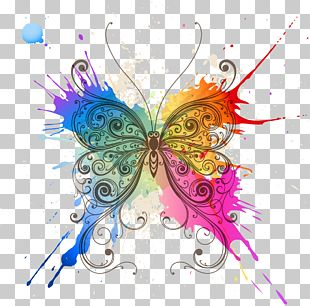Butterfly Abstract Art Pattern PNG