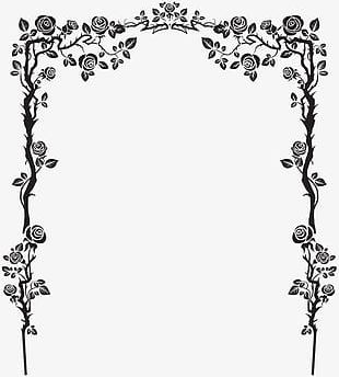 Black French Floral Border PNG
