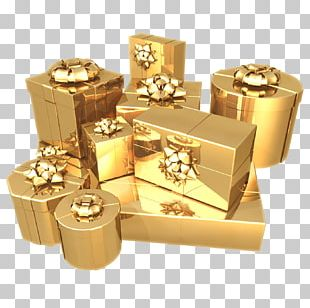 Paper Gift Gold Box Birthday PNG