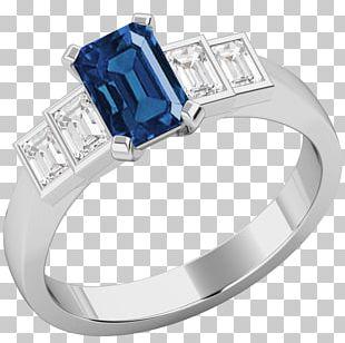 Sapphire Diamond Ring Gold Białe Złoto PNG