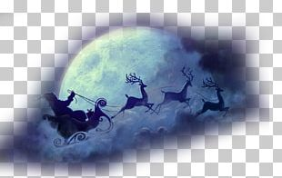 Santa Claus Reindeer Sled Christmas PNG
