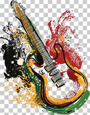 Electric Guitar Grunge Poster PNG