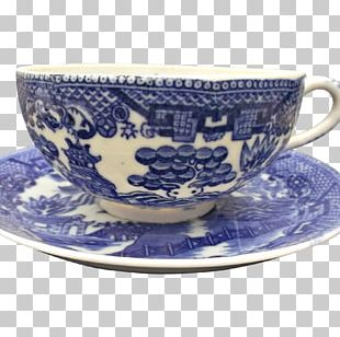 Coffee Cup Willow Pattern Saucer Blue And White Pottery Ceramic PNG