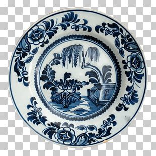 Delftware Porcelain Plate Blue And White Pottery PNG