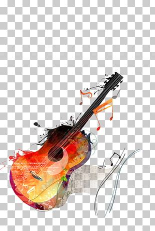 Watercolor Painting Guitar Drawing Canvas PNG
