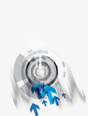 Gray Sci-fi Circle Arrow Decorative Pattern PNG