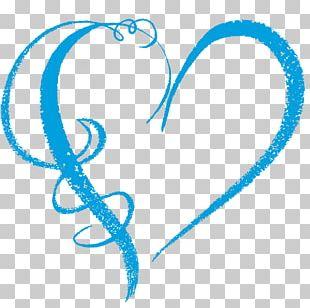 Heart Light Blue Navy Blue PNG