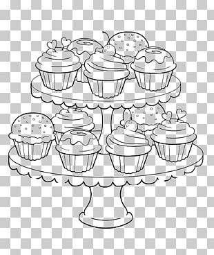 Cupcake Muffin Frosting & Icing Coloring Book PNG