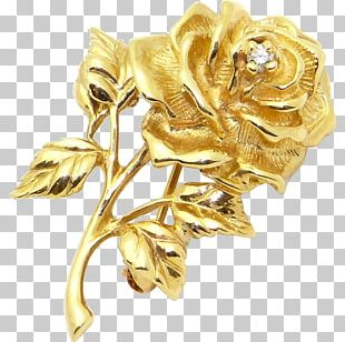 Gold Jewellery Flower Rose Brooch PNG