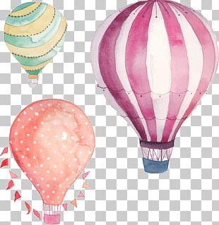 Hot Air Balloon Watercolor Painting PNG