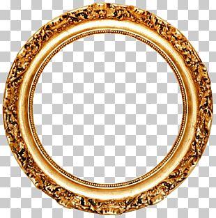 Frame Mirror Circle Gold Leaf PNG