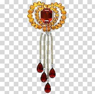 Jewellery Gemstone Ruby Diamond Brooch PNG