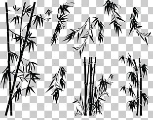Bamboo Silhouette Tree Illustration PNG