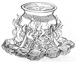 Cauldron Drawing Witchcraft Coloring Book PNG