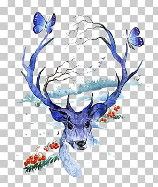 Creative Watercolor Deer Watercolor Painting Illustration PNG