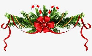 Christmas Pine Red Bow PNG