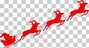 Reindeer Santa Claus Sled Christmas PNG