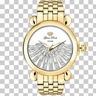 Gold Plating Analog Watch Quartz Clock PNG