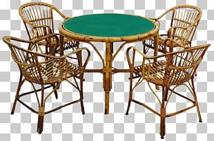 Table Rattan Chair Garden Furniture PNG