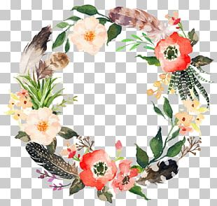 Flower Wreath Watercolor Painting Garland PNG