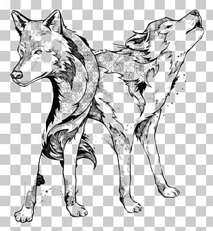 Line Art Drawing Black And White Gray Wolf PNG