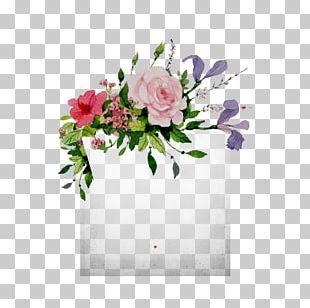 Wedding Invitation Border Flowers Painting PNG