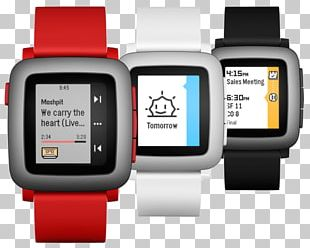 Pebble Time Smartwatch Red PNG