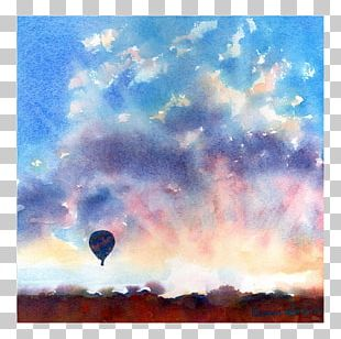 Watercolor Painting Hot Air Balloon Landscape Painting PNG