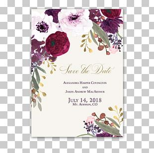 Wedding Invitation Paper Flower Burgundy PNG
