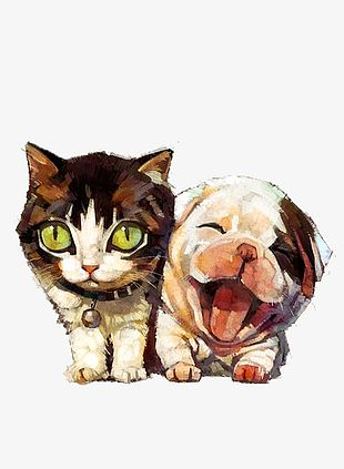 Hand-painted Animals Dogs And Cats PNG