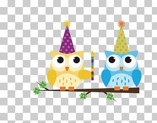 Owl Cartoon Birthday PNG