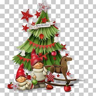 Santa Claus Christmas Tree Photomontage PNG