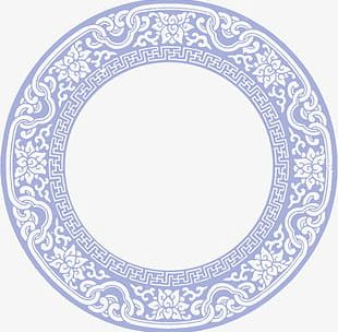 Lavender Chinese Wind Circle Pattern Border Texture PNG