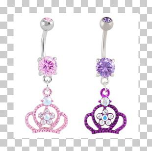 Amethyst Earring Body Jewellery Silver PNG