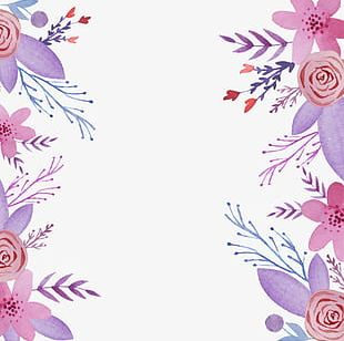 Elegant Purple Flowers Background Material PNG